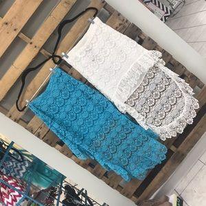 Urban Mango lace hi-lo lace skirt.  White or Turq.